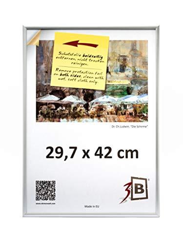 3-B Bilderrahmen ALU Foto 29,7x42 cm (A3) - Silber matt - Alurahmen, Fotorahmen mit Polyesterglas.