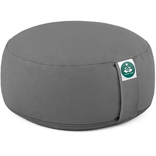 Present Mind Meditationskissen - Yogakissen Rund Zafu - Hergestellt in der EU - Sitzhöhe 16cm - Waschbarer Bezug - 100% Natürliche Yoga Sitzkissen (Zementgrau)
