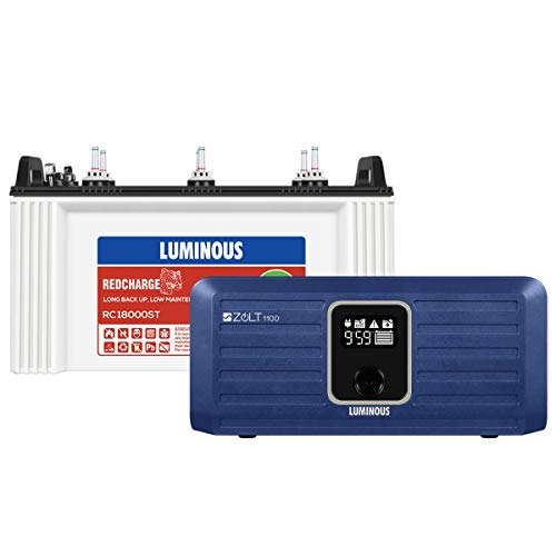 Luminous Zolt 1100 Inverter + RC 18000 ST 150 Ah Short Tubular Battery