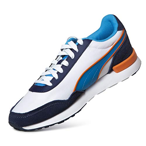 PUMA Sneaker Dista Runner Tonal Freizeitschuhe Unisex Sneakers Schuhe Wanderschuhe Walkingschuhe Berufsschuhe Sportschuhe Outdoor Leichtgewicht White-Dresden Blue-Peacoat weiß/blau/orange - 9/43