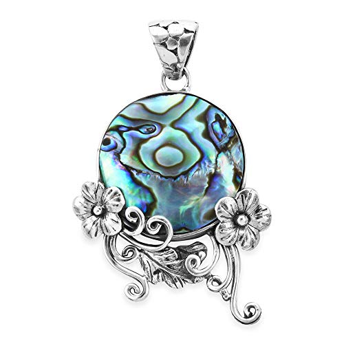 FEATURES: Add sparkle to your outfit with this petite Floral Pendant, studded with Abalone Shell and made in 925 Sterling Silver STYLISH DESIGN: Beautiful flower pendant is elegant and charming. METAL AND GEMSTONES: Studded with Round Abalone Shell. ...