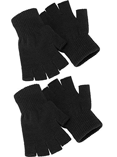 Satinior 2 Pair Black Half Finger Gloves Unisex Winter Stretchy Knit Fingerless Gloves, Common Size