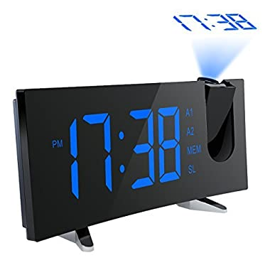PICTEK Projection Alarm Clock, [Curved-Screen] Projection Clock, Digital FM Clock Radio with Dual Alarms, 5  LED Display, USB Charging, Battery Backup