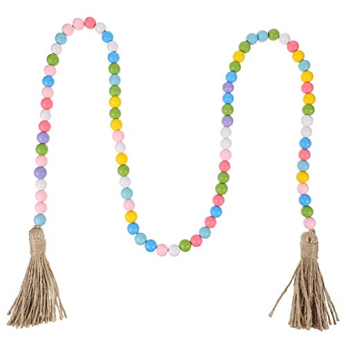 Healifty Wood Bead Garland with Tassels Farmhouse Rustic Country Beads Holiday Decoration Wall Hanging Prayer Beads