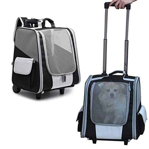 MY-PETS Rolling Pet Carrier, Cat Carrier with Wheels, Dog Backpacks Airline Approved with Trolley Fully Ventilated Mesh for Bag Travel, Hiking, Walking, Outdoor Use