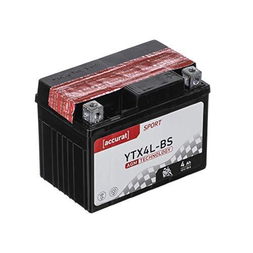 Accurat Motorradbatterie YTX4L-BS 4Ah 55A 12V AGM Roller Starterbatterie Erstausrüsterqualität rüttelfest leistungsstark inkl. Säurepack wartungsfrei