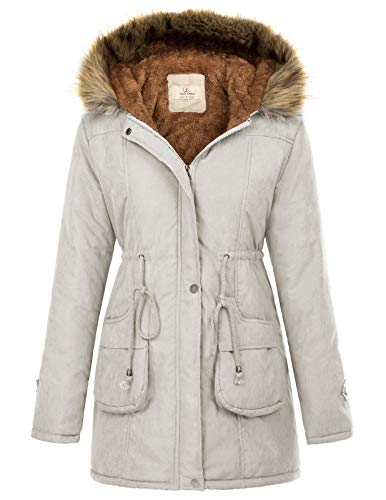 Womens Winter Thicken Hooded Grey Parka Jacket