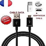 Cable Telephone, Chargeur, Synchronisation avec Adaptateur Type C pour ASUS Zenfone Go Classe 10...