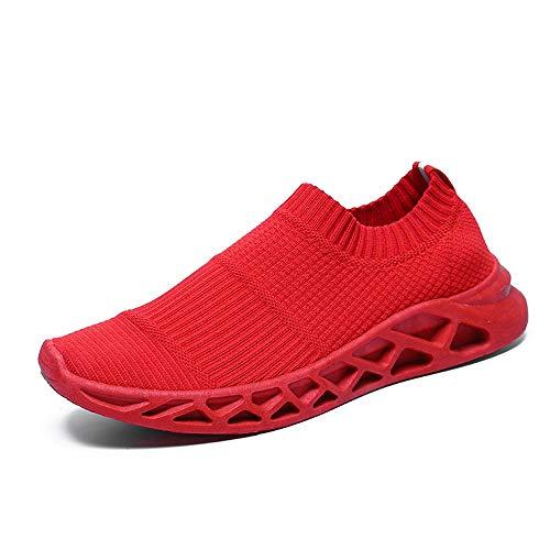 Casual Suede Shoe Mode Sneakers für männer Low top Wanderschuhe elastische beiläufige Slip on Knit runde Kappe rutschfeste atmungsaktiv leichte Herren Sneaker (Color : Rot, Größe : 44 EU)