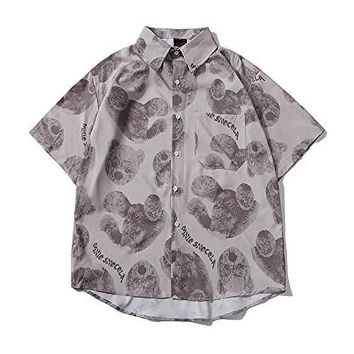 SSBZYES Herrenhemd Kurzarm Sommer Blumenhemd Kurzarm Hemd Hawaiian Beach Vacation Printed Shirt Lässiges Loses Kurzarmhemd