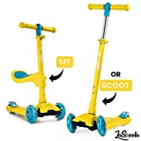 Lascoota 2-in-1 Kick Scooter with Removable Seat Great for Kids & Toddlers Girls or Boys – Adjustable Height w/Extra-Wide Deck PU Flashing Wheels for Children from 2-14 Years Old (Honey)
