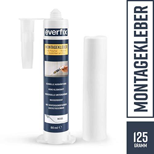 EVERFIX Montagekleber weiss klein 125 g, für innen und außen, extra starker Kraftkleber für Metall, Holz, Fliesen, etc, Baukleber zum Kleben und Abdichten, 125 g / 80 ml