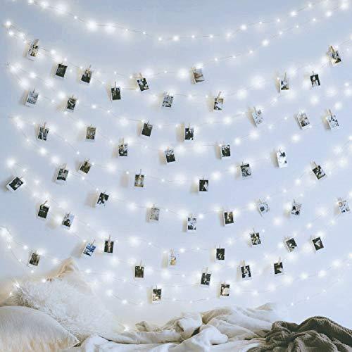 Stringa a LED, 200 luci a LED USB con luci a distanza, 10,1 m, 8 modalità dimmerabili in filo di rame, luci luccicanti per camera da letto, patio, feste, bianco freddo