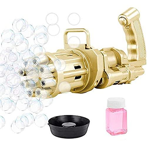SONG Maquina de Burbujas, Pistola de Burbujas Gatling, Fabricante Automático de Burbujas, Juguete, Pistola de Burbujas de Jabón Eléctrica para Niños y Adultos, para Actividades de Verano,Gold