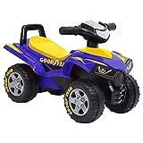 vidaXL Quad Diversión Infantil de Paseo Diversión Andador Juguete Automóviles Bebés Infantil Asiento Almacenamiento Volante Ergonómico Azul