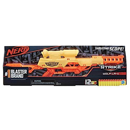 NERF Alpha Strike Wolf Lr-1 Blaster with Targeting Scope, 12 Darts, Breech Load, Pump Action, Easy Load