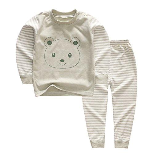 YANWANG 100% Baumwolle Baby Kinder Schlafanzüge Jungen Mädchen Pyjamas Set Langarm Nachtwäsche(Tag55/1-2 Jahre,Muster 2)