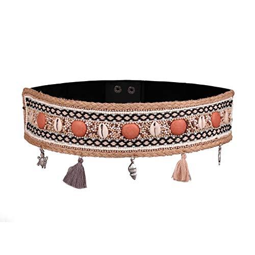 JFTMY Bohemio Moda Mujer Cinturón Gipsy Impresionante Estilo Boho Estilo Cintura Resina Beads Casada Cadena de Cera Cuerda Cuerda Amplia Cinturón Hecho A Mano (Color : Style 5)