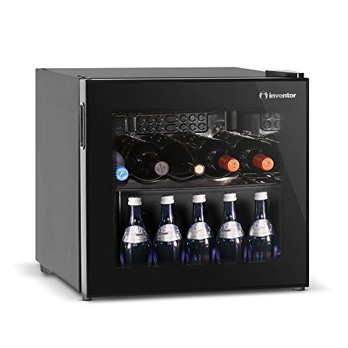 Inventor'Vino' - Cantinetta Vino da 43L,10 bottiglie, Porta reversibile a Doppio Vetro Trasparente anti UV, Termostato manualmente regolabile [Classe di efficienza energetica A+]