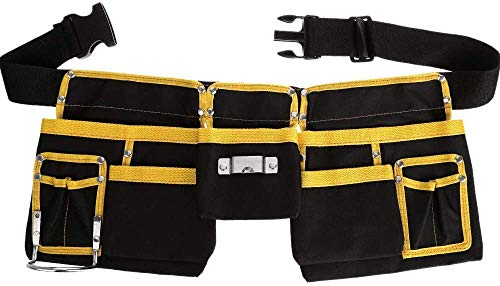 11Pocket Adjustable Tool Belt Tool Bag Tool Waist Pouch with Three Layer Waterproof FabricConvenient Tool Belt for HandymanOxford Waist Bag for Work Organizer