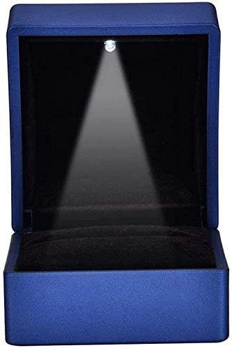 Caja, bandeja de pantalla de anillos, caja de almacenamiento, caja de regalo, perlas de almacenamiento Pantalla de estuche Pendiente Organizador Showcase2 Tipos Moda LED Caja de anillo - LED Caja de a