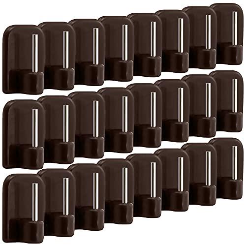 com-four® 24x Ganci per Tende autoadesivi per aste per Tende, aste Vitra - Ganci Adesivi per finestre, Ganci per finestre - Marrone