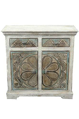 Consola oriental, aparador estrecho de 90 cm, color blanco y marrón, estilo oriental vintage, tallada a mano, aparador rústico de madera, decoración asiática de la India