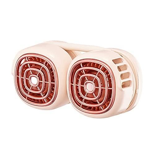 Ventilador montado en el cuello, mini tocado portátil USB, conveniente y de moda, simple y sin hojas, silencioso ventilador silencioso montado en el cuello rosa