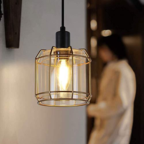ZMH Lámpara de techo vintage para mesa de comedor, color negro y dorado, lámpara de techo de cristal decorativa industrial, 1 bombilla E14 para salón, comedor, pasillo, dormitorio