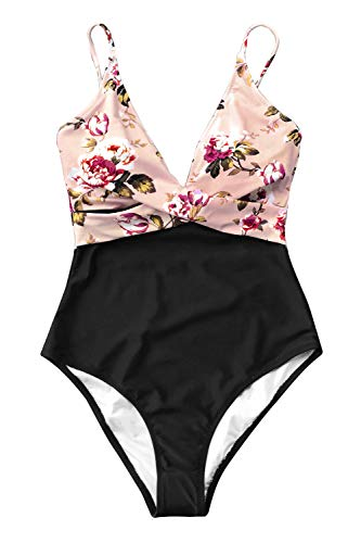 CUPSHE Women's Pink Blossom Floral V Neck High Leg One-Piece Swimsuit Large