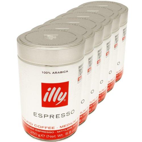 Illy Espresso, 100% Arabica Kaffee, gemahlen, mittlerer Röstgrad, Dose, 6er Pack, 6 x 250g