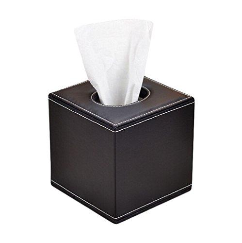 JUNGEN Caja de Pañuelos Cubo Caja de Cuero para Organizador de Escritorio para Decoración Hogar y Oficina, 14*13.5*13.5cm, Color Negro