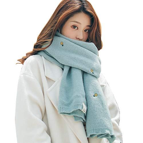 Echarpes Automne Et Hiver Cute Girl Tricotée Écharpe Japonais Chaud Épais Foulard Mode Brodé Châle Cou Collier Vêtements Exquis Match Cadeau (Color : Blue, Size : 196 * 53cm)