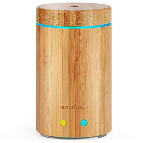 InnoGear Upgraded Real Bamboo Essential Oil Diffuser Ultrasonic Aroma Aromatherapy Diffusers Cool Mist Humidifier with Intermittent Continuous Mist 2 Working Modes Waterless Auto Off, Medium, Light