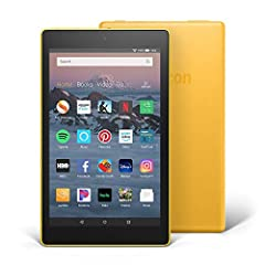"""8"""" HD display; 16 or 32 GB of internal storage (up to 400 GB with microSD) 1.3 GHz quad-core processor Up to 10 hours of battery life Hands-free with Alexa, including on/off toggle 1.5 GB of RAM 2 MP front-facing camera + 2 MP rear-facing HD camera D..."""