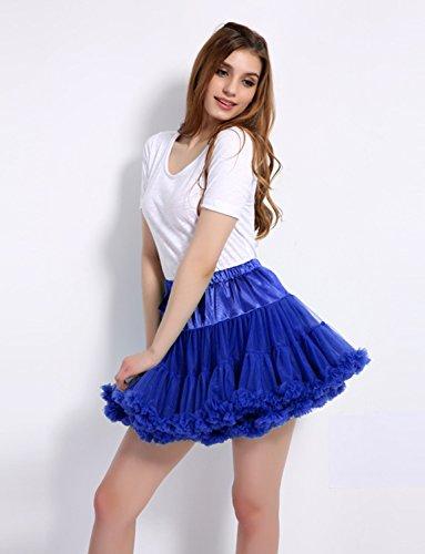 Caissen Damen Elastisch Puffy Tüll Tütü Röcke Petticoat Ballett Blase Ballkleid Bowknot Mehrfarbengroß Tanzrock Weiß - 5