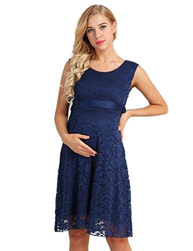 CHICTRY Damen Umstandskleid Spitze Schwangerschafts Kleid Mutterschafts Stillkleid Ball Party Festliche Kleider Brautkleid Knielang Marineblau 36