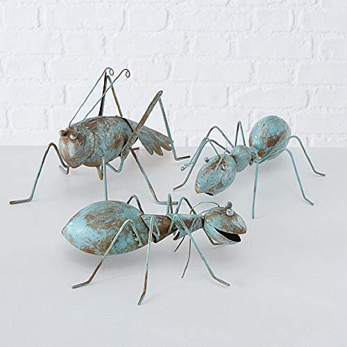 CasaJame Hogar Jardín Muebles Decoraciones Accesorios Objetos Adornos Esculturas Arte Conjunto de 3 Estatuas XXL en Forma de Hormigas Metal Marrón Turquesa Estilo Shabby Chic Vintage 25x20x10cm