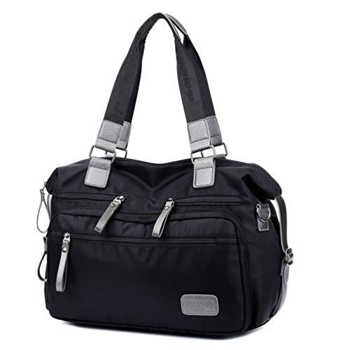 Borsa Tracolla da Donna, Popoti Borsa a Mano Portafoglio Impermeabile Nylon Borsa Spalla Zaino Tote Multifunzione Scuola Tasca Messenger Crossbody Bag (Nero)