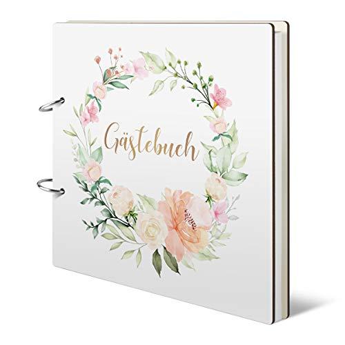 Hochzeit Gästebuch Holzcover 215 x 215 mm 144 Naturpapier Innenseiten - Blumengold
