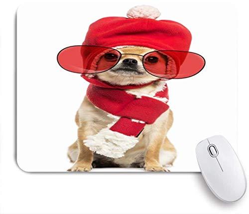 Dekoratives Gaming-Mauspad,Chihuahua Brillenträger Säugetier Weihnachtsmütze Hund Schal Tiere Wildlife Canine,Bürocomputer-Mausmatte mit rutschfester Gummibasis