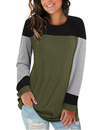 II ININ Women Long Sleeve Patchwork Color Block Round Neck Basic Tunic Casual Blouse Tops T Shirt(Black/Gray/Army Green/XX-Large)