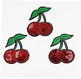 10pcs Cereza Lentejuelas Parches Bordados Hierro Fruta En Patch Cosen En La Divisa del Applique del Adorno para La Ropa Pegatinas