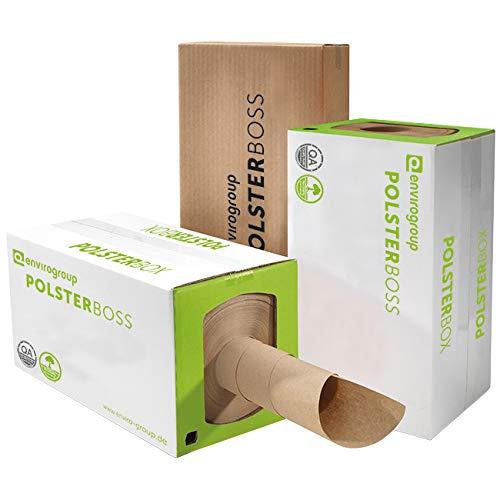 POLSTERBOSS® Packpapier Spenderbox 290 m - bis zu 1000 Pakete füllen, sehr effizient, klein und platzsparend Verpackungspapier Schrenzpapier Rolle braun