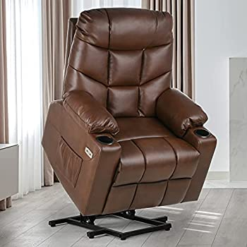 YITAHOME Electric Power Lift Recliner Chair for Elderly Faux Leather Recliner Chair with Massage and Heat Spacious Seat USB Ports Cup Holders Side Pockets Remote Control