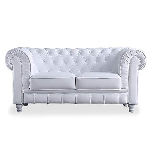 Adec - Chesterfield, Sofa de Dos plazas, Sillon Descanso 2 Personas Acabado en simil Piel Color Blanco, Medidas: 166 cm (Largo) x 84 cm (Fondo) x 75 cm (Alto)
