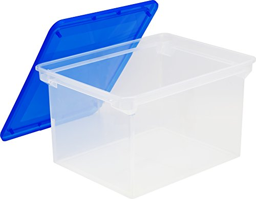 Plastic File Tote Storage Box, Letter/Legal, Snap-On Lid, Clear