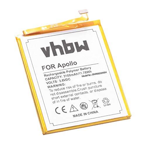 vhbw Litio polímero batería 3100mAh (3.8V) para móvil Smartphone teléfono Vernee Apollo, Apollo Lite