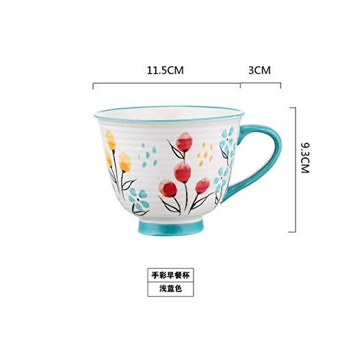 IWINO Handschilderij Keramische Mok Cup Porselein Water Koffie Mok Melk Thee Ontbijt Kopjes Thuis Aanbieding Decor Onderglazuur Donkerblauw