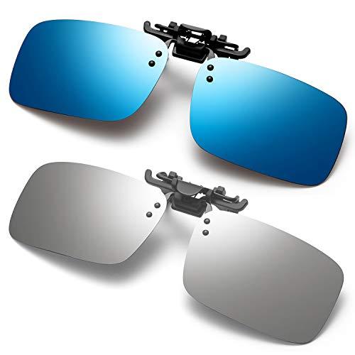 Polarized Clip on Sunglasses Fit Over Prescription Glasses for Men Women Fishing Driving (Silver&Blue)